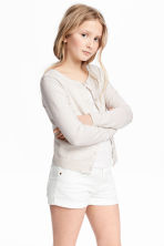 Fine-knit cardigan - Natural white marl -  | H&M 1