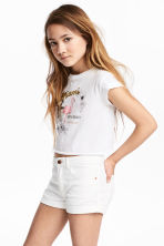 Cropped jersey top - White/Miami -  | H&M 1