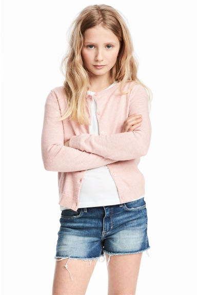 Fine-knit cardigan - Light pink marl - Kids | H&M CN 1