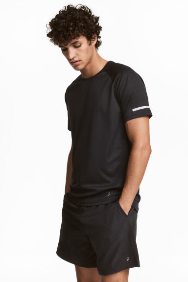 Short-sleeved running top - Black - Men | H&M
