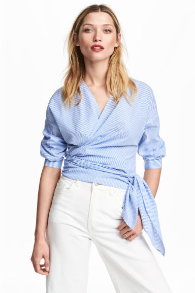 Cotton wrapover blouse - Blue/White/Striped - Ladies | H&M 1