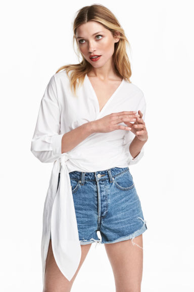 Cotton wrapover blouse - White -  | H&M