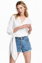 Cotton wrapover blouse - White -  | H&M CA 1