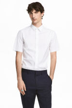 Short-sleeved stretch shirt - White -  | H&M CN 1