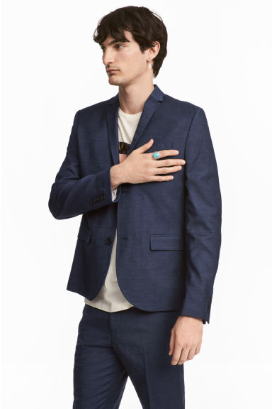 Jacket Skinny fit - Dark blue marl - Men | H&M CN 1