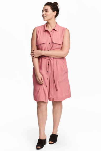 H&M+ Sleeveless shirt dress - Pink - Ladies | H&M 1