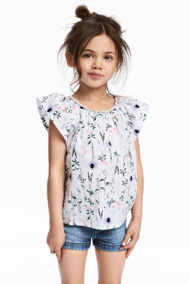 Frill-sleeved cotton blouse - White/Patterned - Kids | H&M CN 1