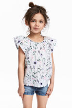Frill-sleeved cotton blouse - White/Patterned - Kids | H&M 1