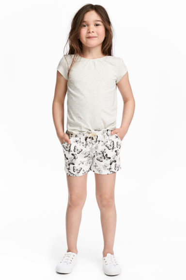 平紋短褲 - White/Butterflies - Kids | H&M