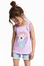 Sleeveless jersey top - Purple/Unicorn - Kids | H&M 1
