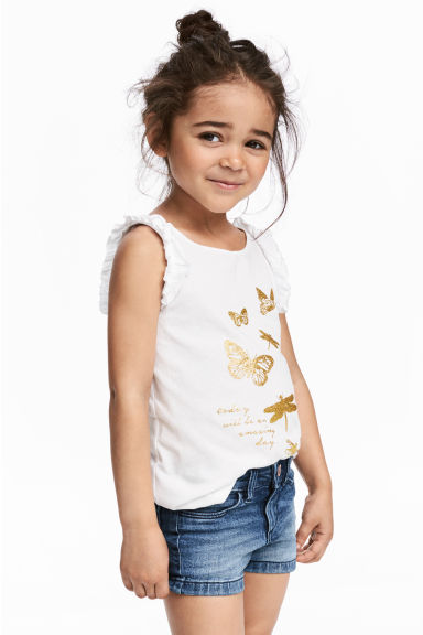 Sleeveless jersey top - White/Butterflies -  | H&M CN 1