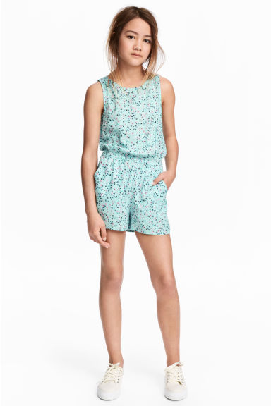 Patterned playsuit - Mint green/Floral -  | H&M 1