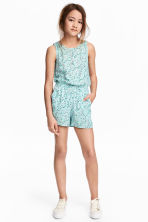 Patterned playsuit - Mint green/Floral - Kids | H&M 1