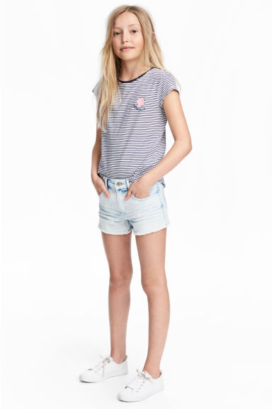 Twill shorts - Denim blue/Acid - Kids | H&M 1