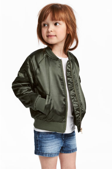 Satin bomber jacket - Khaki green -  | H&M CN