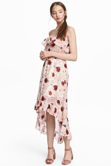 Off-the-shoulder dress - Natural white/Floral - Ladies | H&M 1