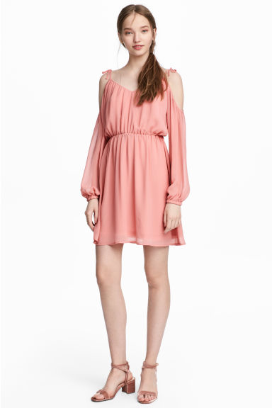 Chiffon dress - Coral pink - Ladies | H&M 1