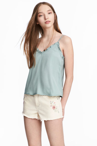 Satin strappy top - Dusky green - Ladies | H&M CN 1