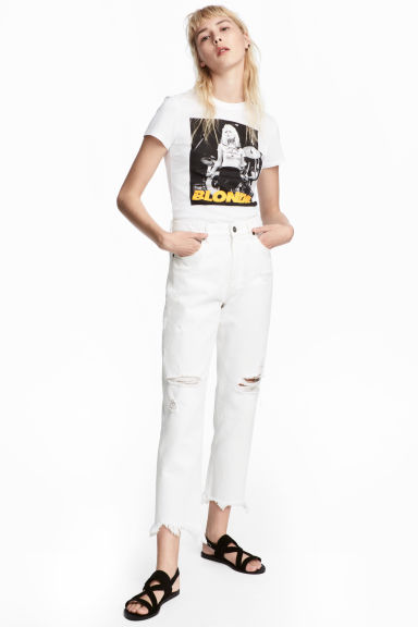 Slim High Cropped Jeans - White denim - Ladies | H&M