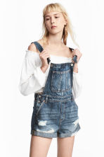 Denim dungaree shorts - Denim blue - Ladies | H&M 1
