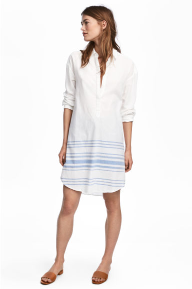 寬版長衫 - White/Blue striped -  | H&M 1