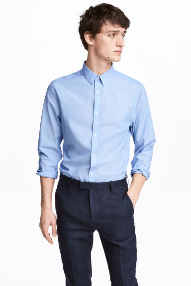 Easy iron-skjorta Slim fit - Blå/Chambray - Men | H&M SE 1