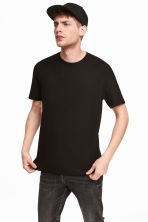 Cotton T-shirt Regular fit - Black - Men | H&M 1