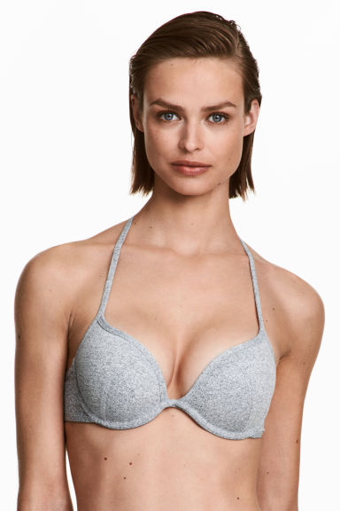 Top de bikini super push-up - Gris jaspeado - MUJER | H&M ES 1