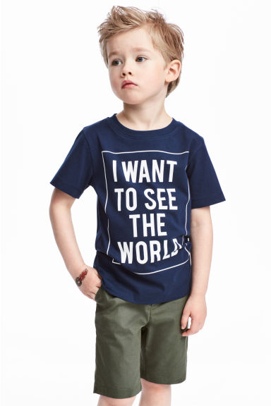 印花T恤 - Dark blue - Kids | H&M 1
