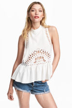 Hole-embroidered top - White -  | H&M 1