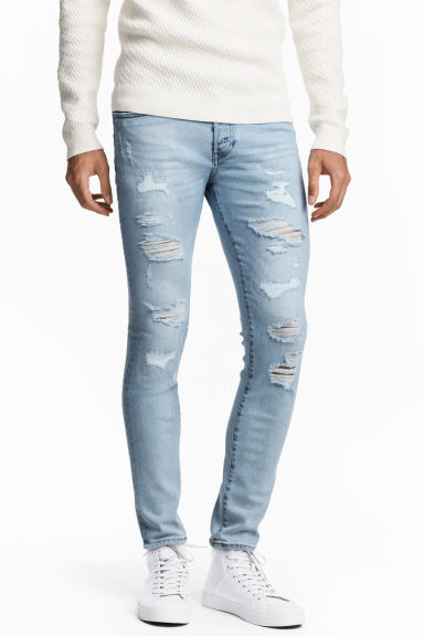Skinny Low Trashed Jeans - Light denim blue - Men | H&M CN 1