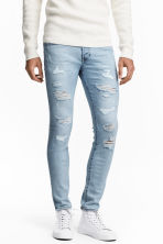 Skinny Low Trashed Jeans - 浅牛仔蓝 - 男士 | H&M CN 1