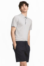 Silk-blend polo shirt - Light grey - Men | H&M 1