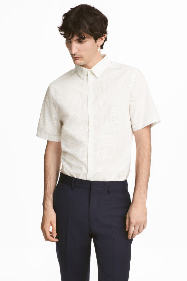 Shirt in premium cotton - White/Spotted - Men | H&M CN
