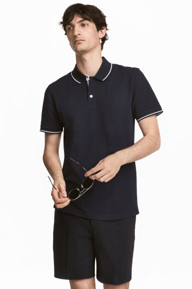 Premium cotton piqué shirt - Dark blue - Men | H&M 1