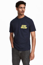 Printed T-shirt - Dark blue - Men | H&M CN 1