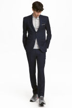 Wollen pantalon - Slim fit - Donkerblauw - HEREN | H&M NL 1