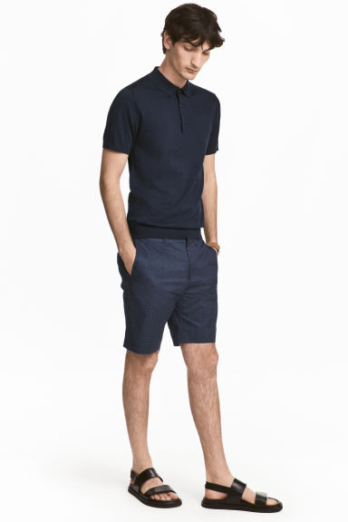 Premium cotton city shorts - Dark blue/Patterned - Men | H&M