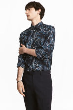 標準剪裁棉質襯衫 - Dark blue/Patterned - Men | H&M 1