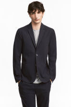 Seersucker jacket Slim fit - Dark blue - Men | H&M CA 1