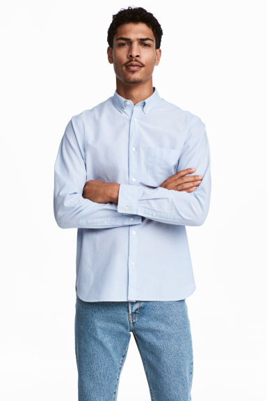 Cotton shirt Regular fit - Light blue - Men | H&M CA