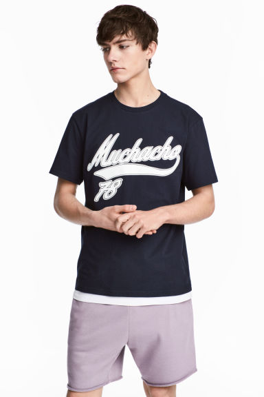 Printed T-shirt - Dark blue - Men | H&M