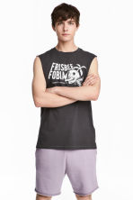 Cotton jersey vest top - Dark grey/Skulls - Men | H&M CN 1