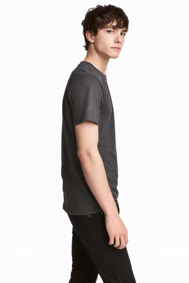 Round-necked T-shirt - Dark grey marl - Men | H&M