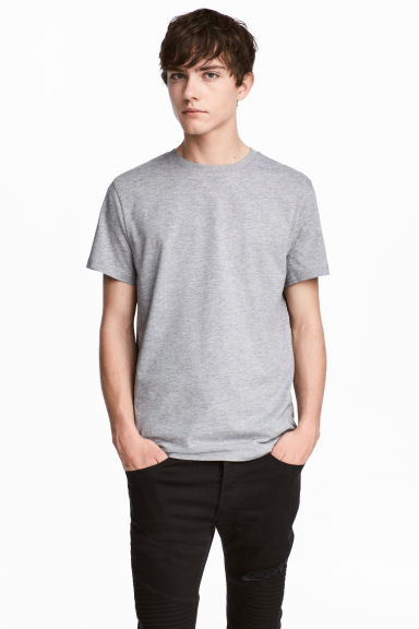 Round-necked T-shirt - Grey marl - Men | H&M CA 1