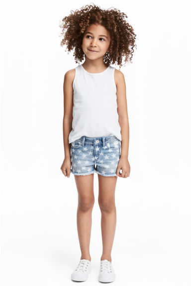 Printed denim shorts - Denim blue/Star - Kids | H&M CN 1