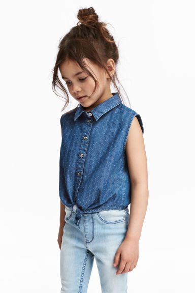 Sleeveless tie-front blouse - Denim blue -  | H&M 1