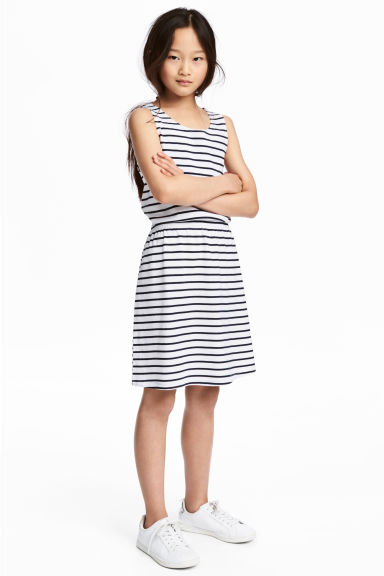 Jersey dress - White/Black striped - Kids | H&M CA 1