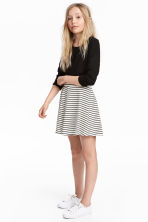 Striped jersey skirt - White/Black striped -  | H&M 1