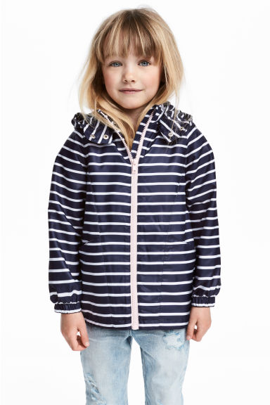 Fleece-lined windproof jacket - Dark blue/Striped - Kids | H&M 1